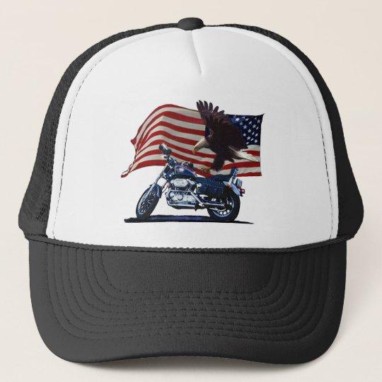 Wild & Free - Patriotic Eagle, Motorbike & US Flag Trucker Hat