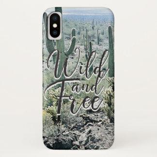 Wild Free Vintage Cactus Desert Typography iPhone X Case