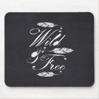 Wild & Free/White-Black Mouse Pad