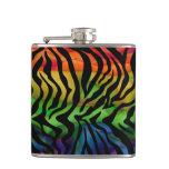 Wild Funky Rainbow Zebra Hip Flasks