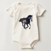 Wild Galloping Pinto American Paint Horse Baby Bodysuit