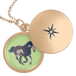 Wild Galloping Pinto American Paint Horse Round Locket Necklace