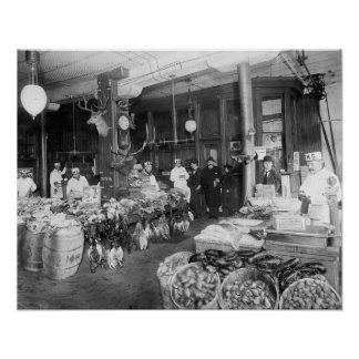 Wild Game & Seafood Market, 1895. Vintage Photo Poster