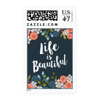 Wild Garden Floral Life is Beautiful Postage