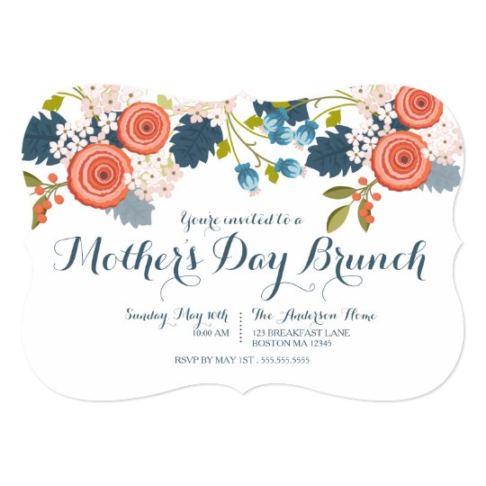 wild garden floral mother s day brunch invitation zazzle com