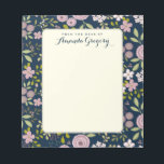 """Wild Garden Floral Personalized Desk Notepad<br><div class=""""desc"""">A pattern of whimsical ranunculus flowers in dusty mauve, pink, and blush adorn this pretty journal. Personalized with your heading and name on the front cover. Contrasting deep blue background gives it a feminine and modern vintage look. Perfect for writing notes to school, making to-do lists, or leaving love notes....</div>"""