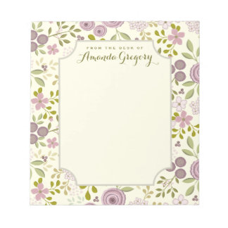 Wild Garden Floral Personalized Desk Notepad