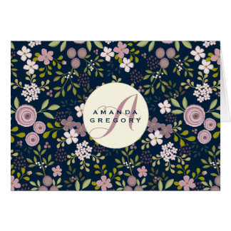 Wild Garden Floral Personalized Notecard Stationery Note Card