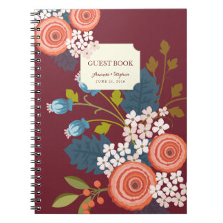 Wild Garden Floral Wedding Guest Book Notebook