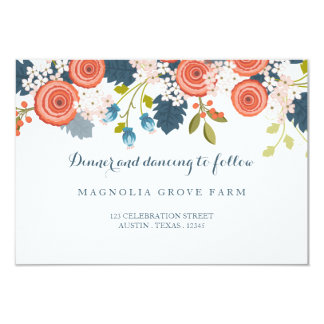 Wild Garden Floral Wedding Reception  Card