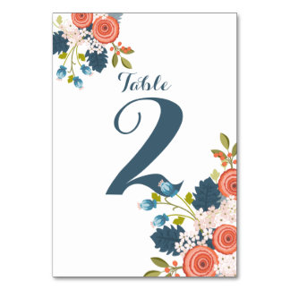 Wild Garden Floral Wedding Table Number Card