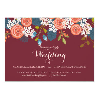 Wild Garden Marsala Floral Wedding Invitation