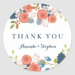 Wild Garden Wedding Personalized Thank You Classic Round Sticker
