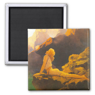 """Wild Geese"", by Maxfield Parrish 2 Inch Square Magnet"