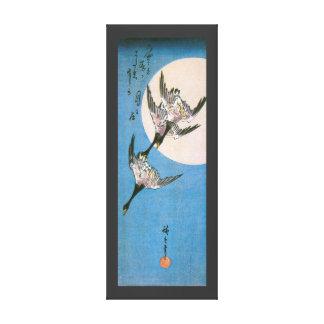 Wild Geese Flying Downward Across Moon, Hiroshige Canvas Print