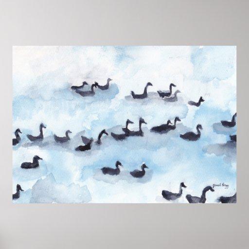 Wild Geese in Fidalgo Bay Poster