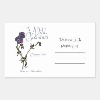 Wild Geranium Book Sticker