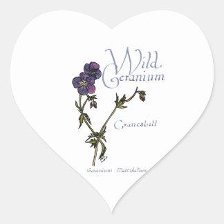 Wild Geranium Heart Sticker