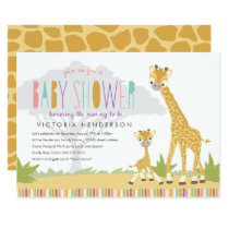 Wild Giraffe Baby Shower Invite - Pink