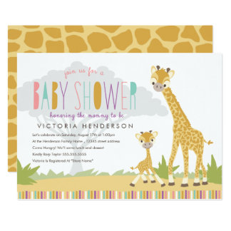Wild Giraffe Baby Shower Invite - Pink