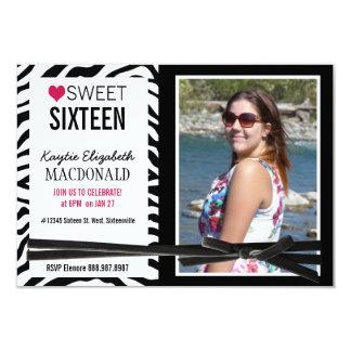Wild Girl Zebra Sweet 16 Party Photo ZEBRA Card