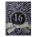 Wild Girly Glitter Look Purple Zebra Sweet 16 Journal
