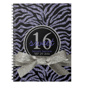 Wild Girly Glitter Look Purple Zebra Sweet 16 Notebook
