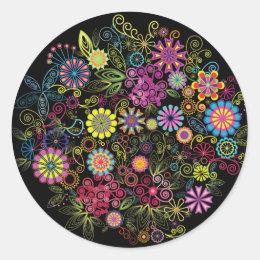 Wild Glowing Flowers Classic Round Sticker