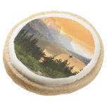 Wild goose island in Glacier national park Round Premium Shortbread Cookie