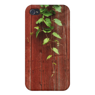 wild grapevine on red barn wood planks iPhone 4/4S case