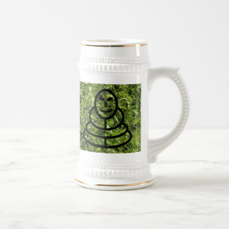 Wild grass and clover texture with meditation man beer stein