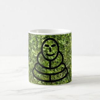 Wild grass and clover texture with meditation man coffee mug