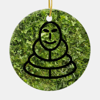 Wild grass and clover texture with meditation man christmas tree ornament