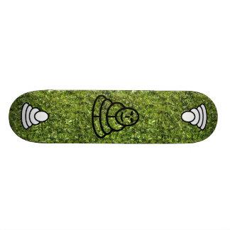 Wild grass and clover texture with meditation man skateboard deck