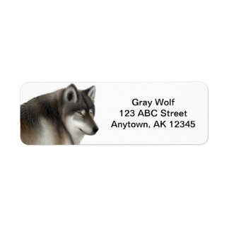 Wild Gray Wolf Customizable Label