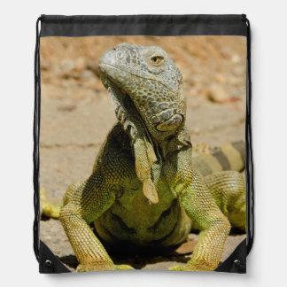 Wild Green iguana Drawstring Backpack