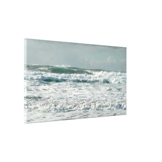 Wild Green Ocean Waves Stretched Canvas Print