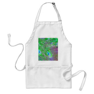 Wild Green Peacock Feathers Adult Apron