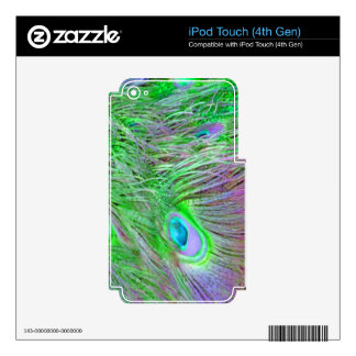 Wild Green Peacock Feathers iPod Touch 4G Decals