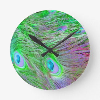 Wild Green Peacock Feathers Round Clock