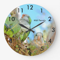 Wild green Quaker Parrots Wall Clock