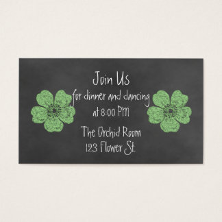 Wild Green Roses Chalkboard Reception Cards