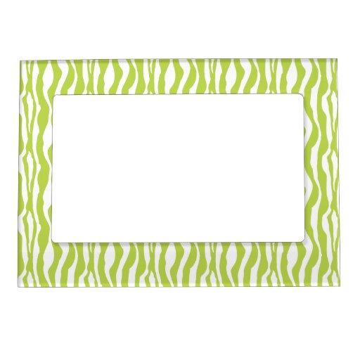Wild Green Zebra Print Magnetic Photo Frame