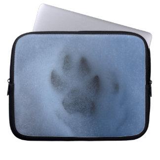 Wild Grey Wolf Paw Print in Winter Snow Computer Sleeve