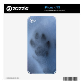 Wild Grey Wolf Paw Print in Winter Snow Decals For The iPhone 4