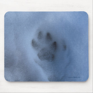 Wild Grey Wolf Paw Print in Winter Snow Mouse Pad