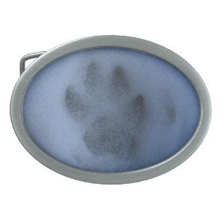 Wild Grey Wolf Paw Print in Winter Snow Oval Belt Buckle