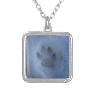 Wild Grey Wolf Paw Print in Winter Snow Square Pendant Necklace