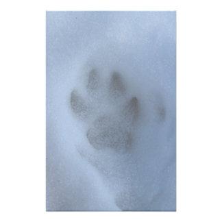 Wild Grey Wolf Paw Print in Winter Snow Stationery