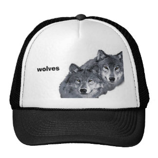 Wild, grey wolves, on a cap. trucker hat